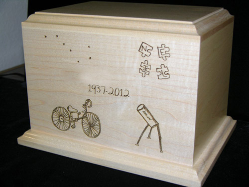 Wood Cremation Urn with Your Drawing