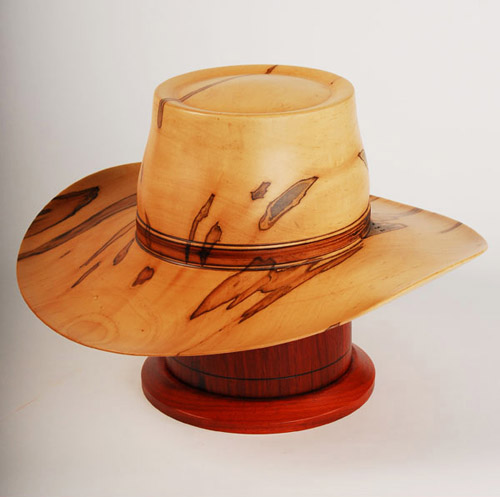 Hand turned cowboy hat urn