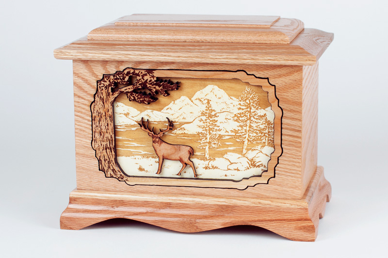 Oak Wood Deer Hunter Urn