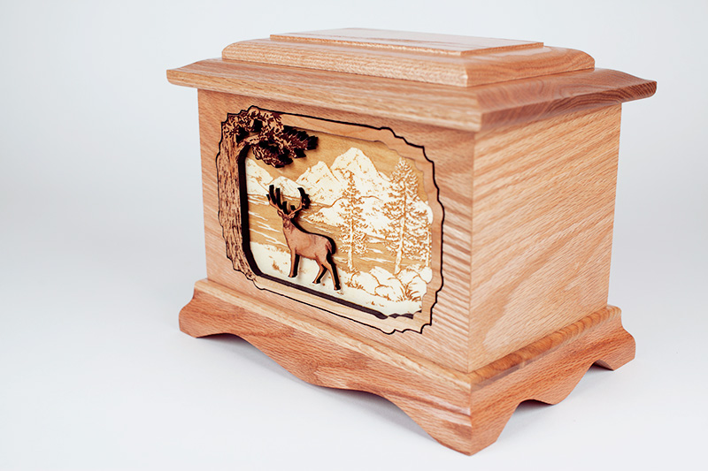 Oak Wood Urn with Deer Inlay