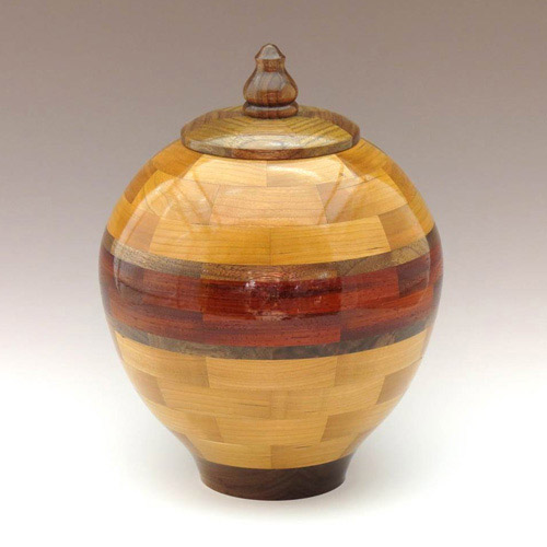 Walnut, Cherry, and Padauk Wood Urn