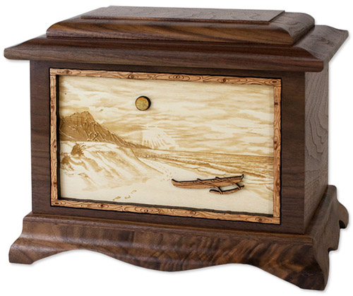 Hawaiian Beach Inlay Art Urn
