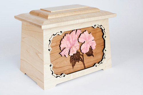 Maple wood urn with flower art