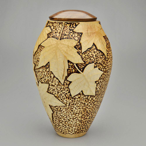 Hand Carved Maple Leaf Cremation Urn