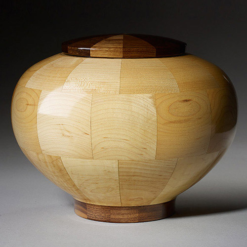 Maple and Walnut Wood Urn