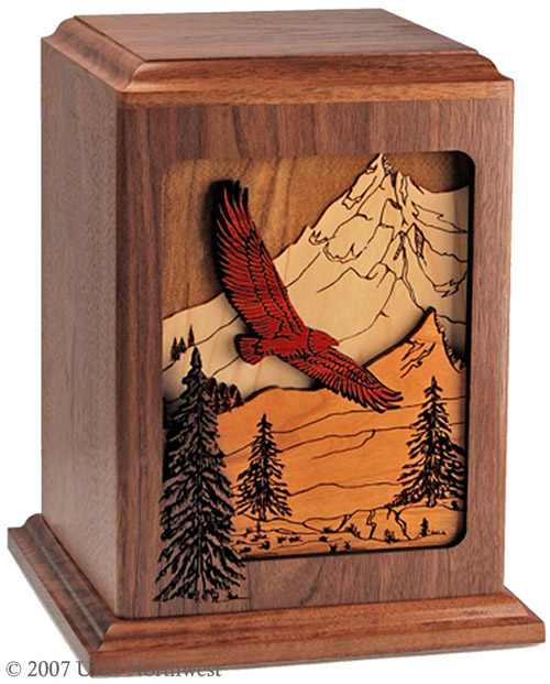 Walnut wood mountain eagle urn