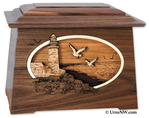 Walnut Wood Lighthouse Urn