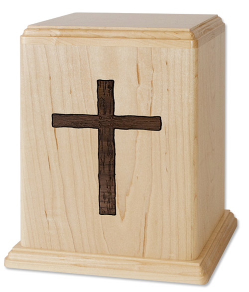 Maple wood cremation urn