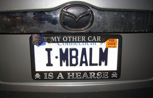 Mortician license plate: I-MBalm