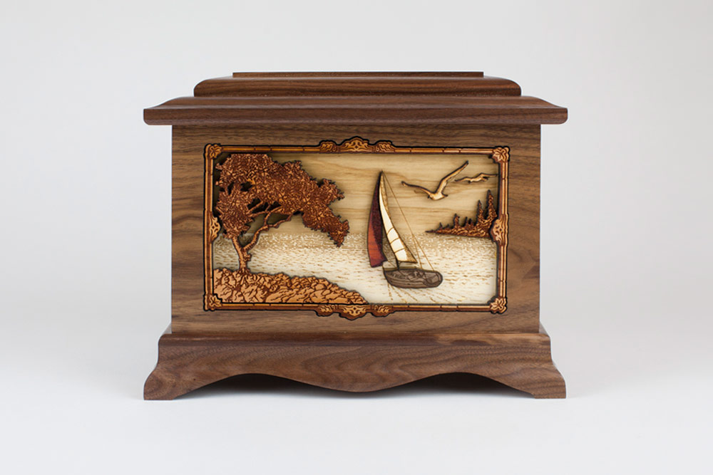 """Soft Breezes"" Wood Cremation Urn with Inlay Art"