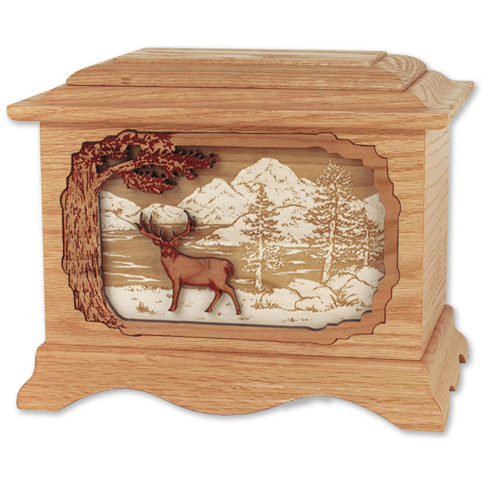 Deer Cremation Urn With 3d Inlay Wood Art