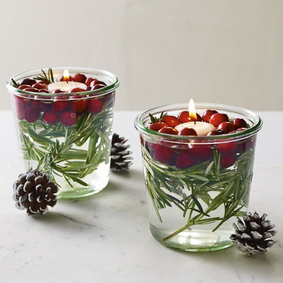 Cranberry Holiday Floating Candles