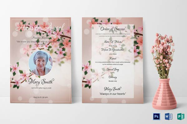 "Premium ""Pink Blossoms"" Funeral Program Template Download"