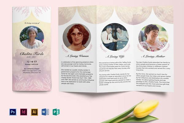 Tri-Fold Funeral Program Brochure Template