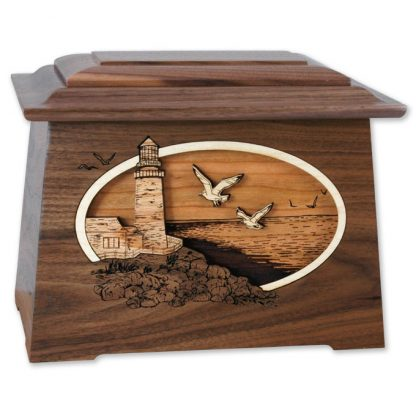 3D Inlay Wood Urn Funeral Urns
