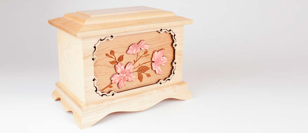 Cherry Blossoms Wood Cremation Urns
