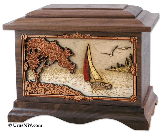 Sailing Urn - Wood Cremation Urns shipped to Australia