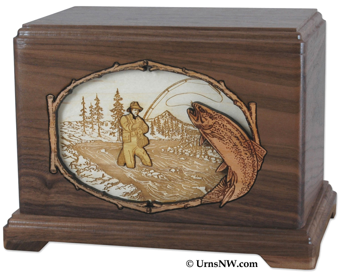Stream Fishing Inlay Art Urn in Walnut Wood