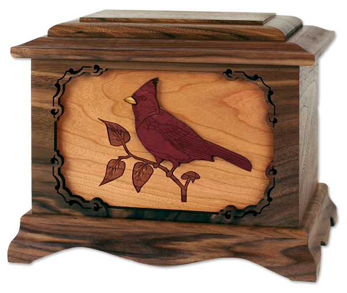 Walnut Wood with Inlay Cardinal Bird