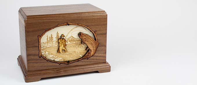 Wood Cremation Urn with Fishing Inlay