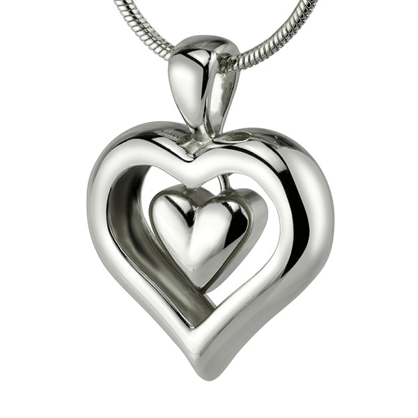 Eternity heart cremation ashes necklace with rhodium finish heart cremation ash jewelry aloadofball
