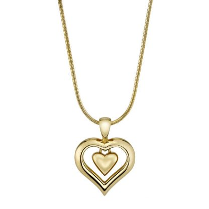 19k Gold Finish Cremation Heart Necklace