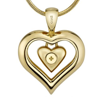 18K Gold Finish Eternity Heart Pendant Memorial Jewelry