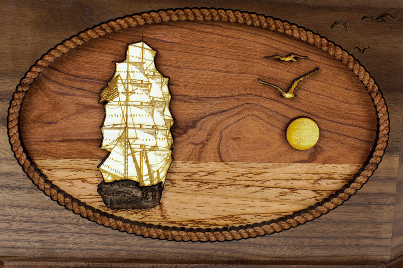 Sailing Ship Octagon Wood Cremation Urn - Front Scene