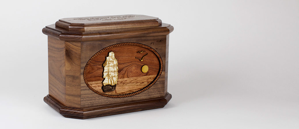 Sailing Ship Wooden Urn