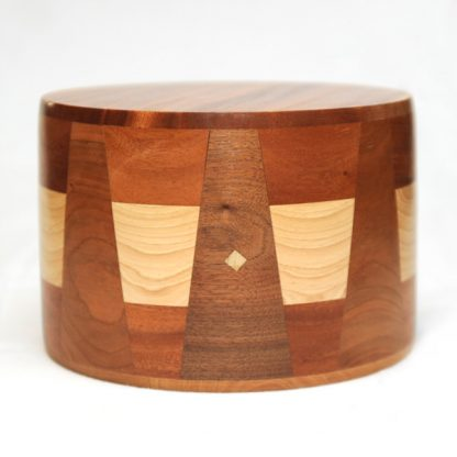 Round Urn in African Mahogany