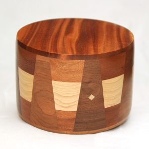 African Mahogany Cremation Urn with Inlays