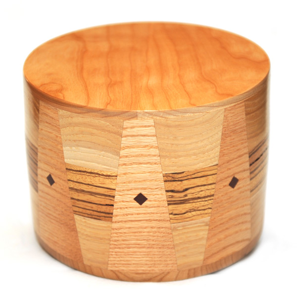 Maple and Zebrawood Inlay Cremation Urn