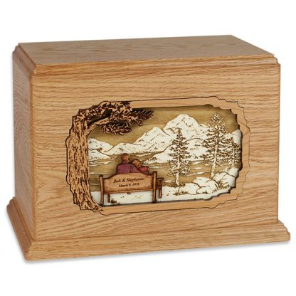 Wooden Cremation Urn for Two