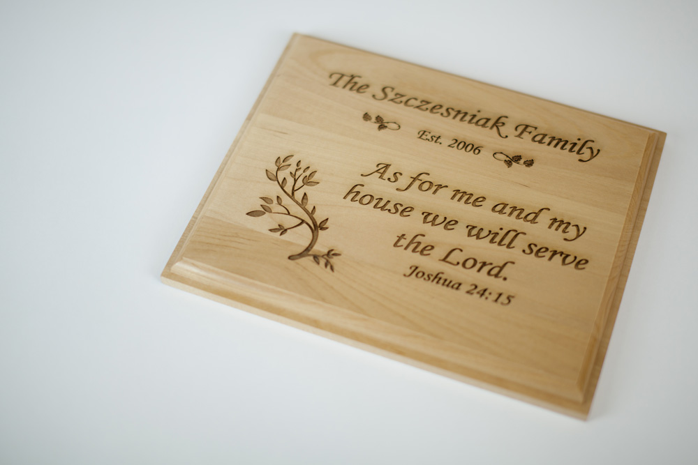 Custom engraved alder wood plaque