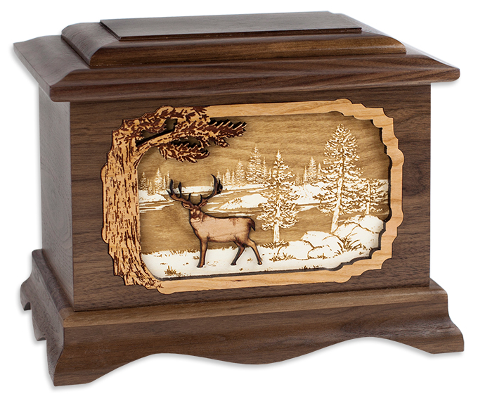 Wooden memorial urn for Michigan