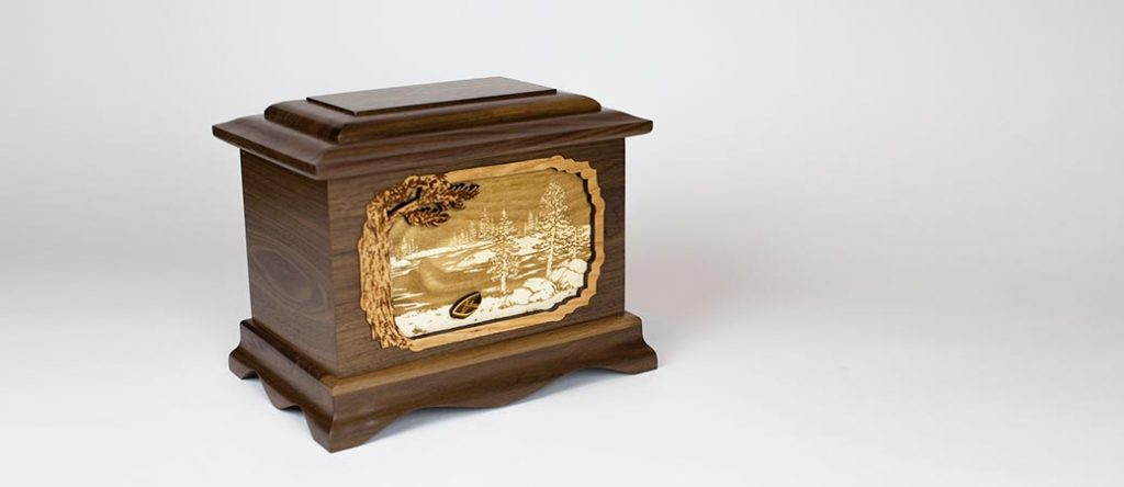 Wood Urn with Great Lakes Art