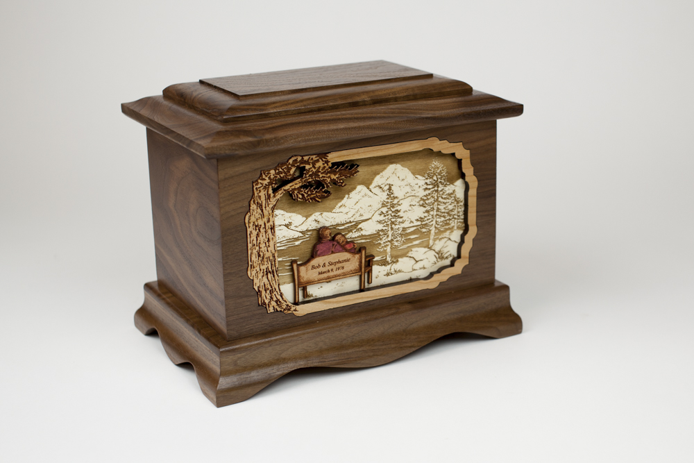 Walnut Wood Cremation Urn and Memorial