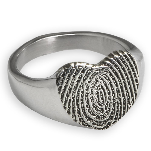 Sterling Silver Memorial Ring with Engraved Fingerprint