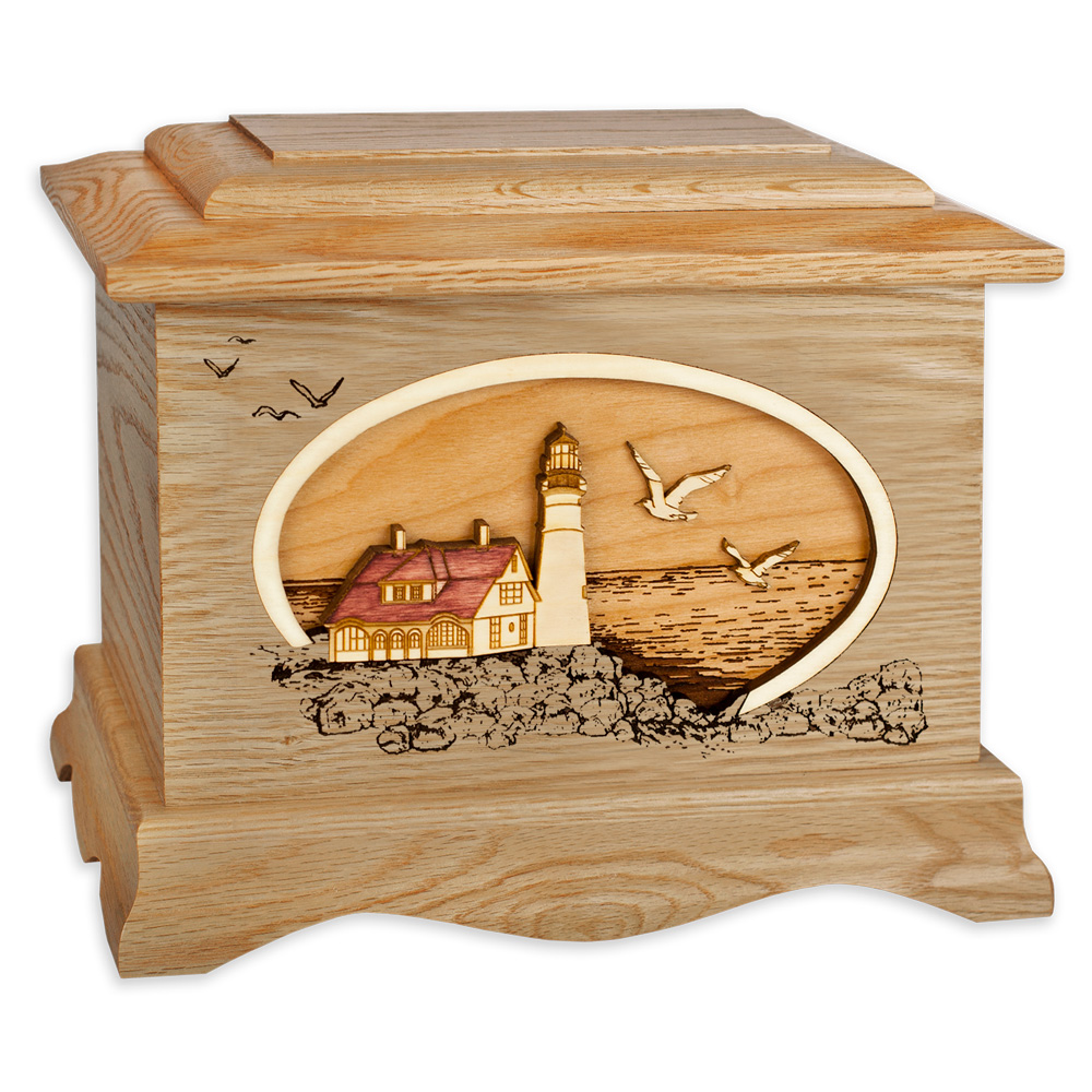 Oak Wood Lighthouse Cremation Urn