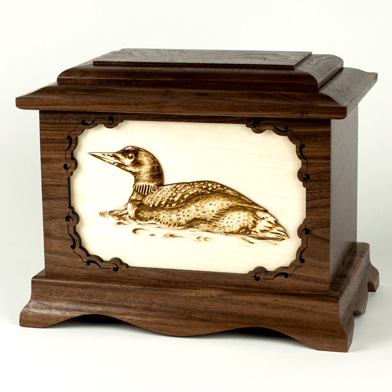 Loon Bird Wood Urn