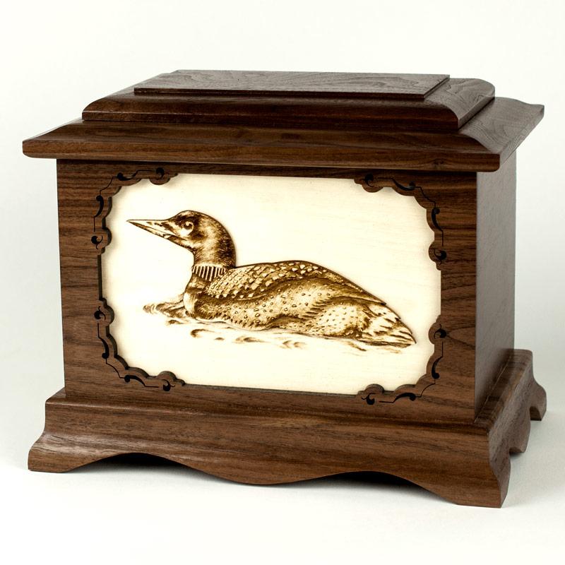 Loon Bird Wood Urn