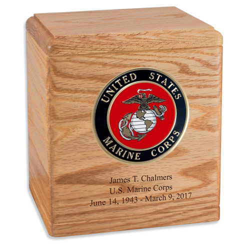 Freedom Oak Wood Funeral Urn for Military Service