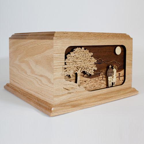 Wood Funeral Urn in Oak