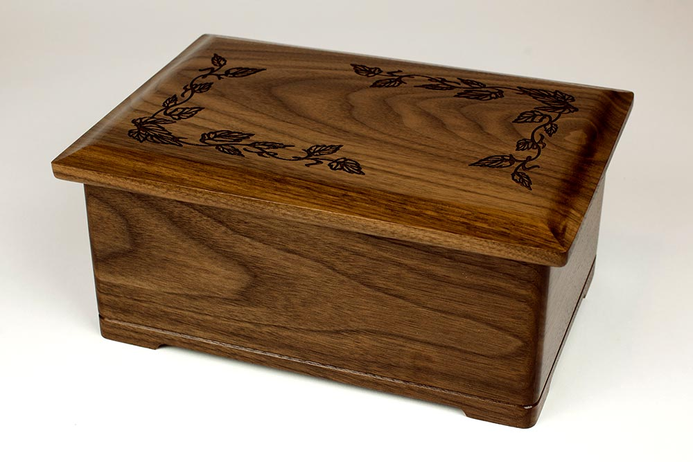 Walnut Wood Cremation Urn with Leafy Carvings