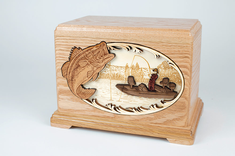 Bass Fisherman Funeral Urn for Ashes