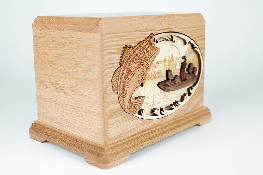 Bass Fisherman Cremation Urn
