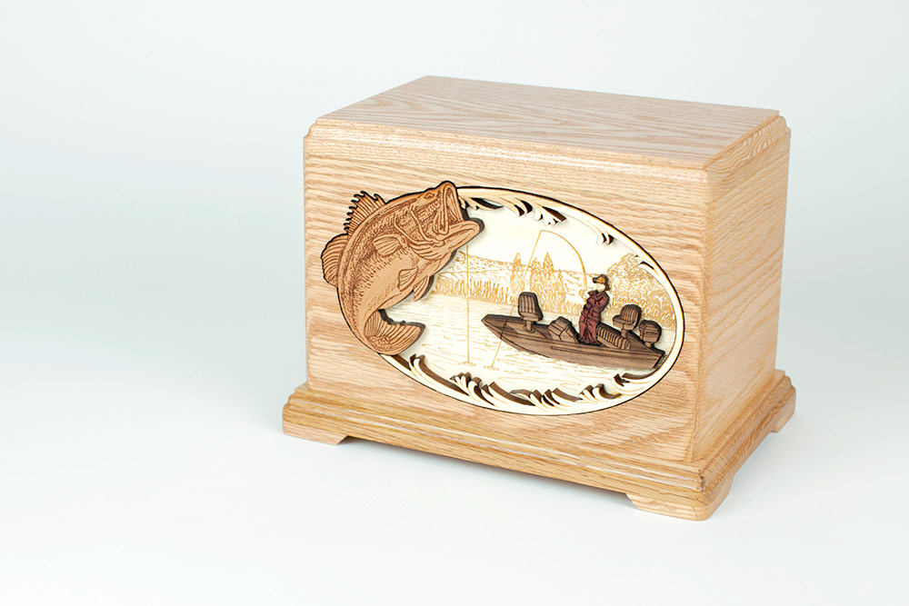 Bass Fisherman Oak Wood Funeral Urn