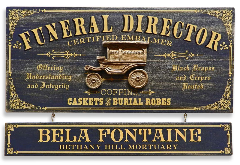 Vintage Personalized Mortuary Plaque for Funeral Director