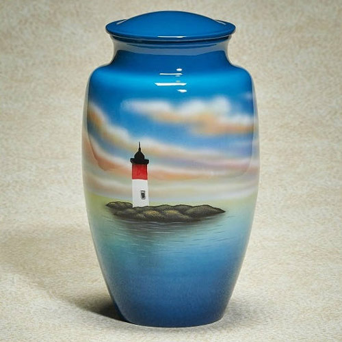 Most Beautiful Lighthouse Cremation Urns - Metal Hand-Painted Urn
