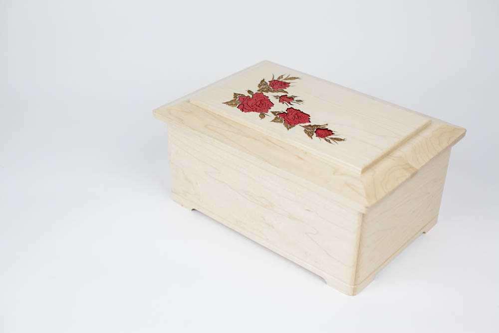 Floral Cremation Urns - Maple Wood with Inlays